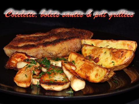 Kotelett, Steinpilze & Grillkartoffeln